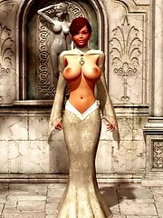 beautiful busty 3d female creature